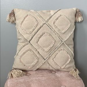 Tan Pillow with Tassels
